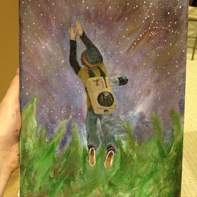 I made this painting in about 5 hours. Love is where I find my motivation! MFLB–the closest you'll ever get to the stars. Look for the glyph!