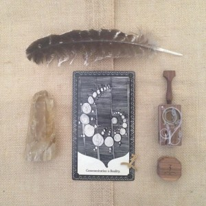 Our Wisdom Card Deck alongside the Spiral Vine Launch Box and Finishing Grinder